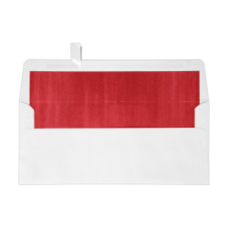 """LUX Foil-Lined Square-Flap Envelopes With Peel & Press Closure, #10, 4 1/8"""" x 9 1/2"""", White/Red, Pack Of 500"""