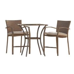 COSCO Bridgeport 3-Piece Outdoor High-Top Bistro Patio Furniture Set, Brown/Tan