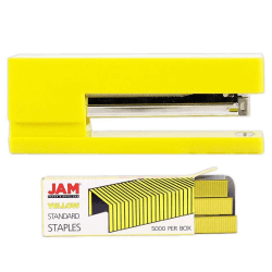 JAM Paper® 2-Piece Office Stapler Set, 1 Stapler & 1 Pack of Staples, Yellow