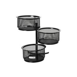 Rolodex® Mesh 3-Tier Swivel Paper Clip Dish, Black