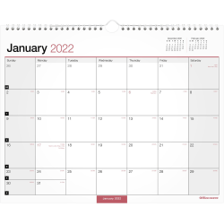 """Office Depot® Brand Monthly Wall Calendar, 15"""" x 12"""", White, January To December 2022, OD302428"""