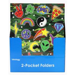 "Inkology 2-Pocket Portfolios, Corey Paige, 9-1/2"" x 11-3/4"", Assorted Designs, Pack Of 24 Folders"