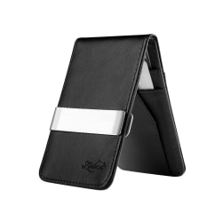 Zodaca Genuine Leather Wallet With Money Clip, Black/Silver