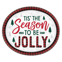"Amscan Christmas Cozy Holiday Oval Plates, 12"" x 10"", Red, 8 Plates Per Pack, Case Of 3 Packs"