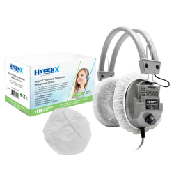 """HamiltonBuhl™ HygenX Disposable Ear-Cushion Covers For 3.75"""" Over-Ear Headphones & Headsets, White"""