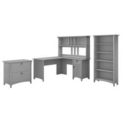 "Bush Furniture Salinas 60""W L Shaped Desk with Hutch, Lateral File Cabinet and 5 Shelf Bookcase, Cape Cod Gray, Standard Delivery"