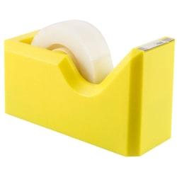 "JAM Paper® Plastic Tape Dispenser, 4-1/2""H x 2-1/2""W x 1-3/4""D, Yellow"