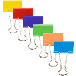 """JAM Paper® Designer Binder Clips, Large, 1"""" Capacity, Assorted Colors, Pack Of 6 Clips"""