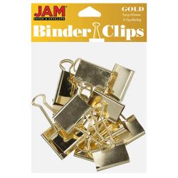 """JAM Paper® Designer Binder Clips, Large, 1"""" Capacity, Gold, Pack Of 12 Clips"""