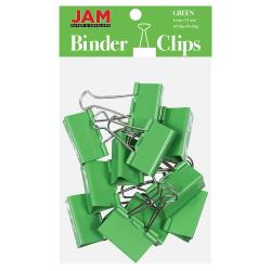 "JAM Paper® Designer Binder Clips, Large, 1"" Capacity, Green, Pack Of 12 Clips"