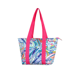 Zodaca Large Insulated Lunch Tote Bag, Pink Paisley