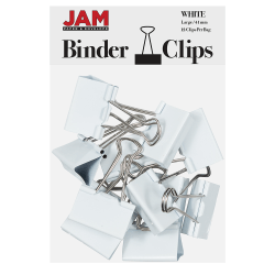"JAM Paper® Designer Binder Clips, Large, 1"" Capacity, White, Pack Of 12 Clips"