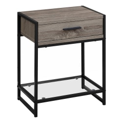 Monarch Specialties Side Accent Table With Glass Shelf, Rectangular, Dark Taupe/Black