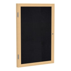 """Ghent 1-Door Enclosed Recycled Rubber Bulletin Board, 24"""" x 18"""", Black Oak Finish Wood Frame"""