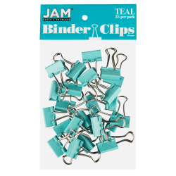 """JAM Paper® Designer Binder Clips, Small, 1/4"""" Capacity, Teal, Pack Of 25 Clips"""