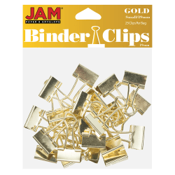 "JAM Paper® Designer Binder Clips, Small, 1/4"" Capacity, Gold, Pack Of 25 Binder Clips"