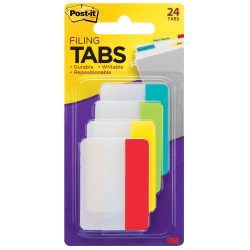 """Post-it® Notes Durable Filing Tabs, 2"""", Assorted Colors, 24 Flags Per Pad"""