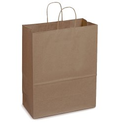 "SuperMart Kraft Paper Shopping Bags With Rope Handles, 17""H x 7""W x 13""D, Pack Of 250"