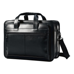 """Samsonite Business Carrying Case for 15.6"""" Notebook - Black - Leather - Shoulder Strap, Handle - 12.2"""" Height x 16.9"""" Width x 6.1"""" Depth"""