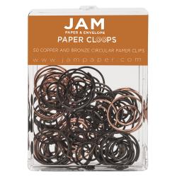 "JAM Paper® Circular Clips, 1"", Copper/Bronze, Box Of 50 Clips"