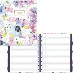 """Blueline MiracleBind Passion Collection Notebook - Floral - Twin Wirebound - 7 1/4"""" x 9 1/4"""" - Floral - Hard Cover, Printed, Storage Pocket, Micro Perforated - Recycled - 1Each"""
