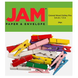 "JAM Paper® Wood Clip Clothespins, 1-1/2"", Assorted Colors, Pack Of 24 Clothespins"