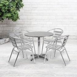 "Flash Furniture Round Aluminum Indoor/Outdoor Table Set With 4 Slat-Back Chairs, 27-1/2""H x 31-1/2""W x 31-1/2""D, Aluminum"