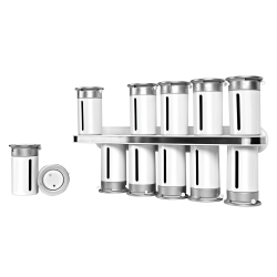 """Honey-Can-Do Zero Gravity™ Wall-Mount Magnetic Spice Rack, 12 Canisters, 7 1/2""""H x 14 1/4""""W x 3""""D, White/Silver"""