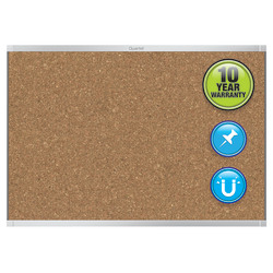 "Quartet® Prestige™ 2 Magnetic Cork Bulletin Board, 96"" x 48"", Aluminum Frame With Silver Finish"