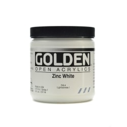 Golden OPEN Acrylic Paint, 8 Oz Jar, Zinc White