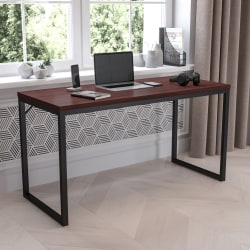 "Flash Furniture 55""W Commercial-Grade Industrial Office Desk, Mahogany"