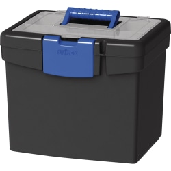 """Storex File Storage Box with XL Storage Lid - External Dimensions: 10.9"""" Length x 13.3"""" Width x 11"""" Height - 30 lb - Media Size Supported: Letter 8.50"""" x 11"""" - Clamping Latch Closure - Plastic - Black, Blue - For File, Folder - 1 Each"""