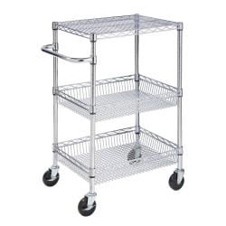 """Honey-can-do CRT-01451 3-tier Urban Utility Cart, Chrome - Tubular Handle - 400 lb Capacity - 4"""" Caster Size - Steel - 24"""" Length x 18"""" Width x 40"""" Height - Chrome"""
