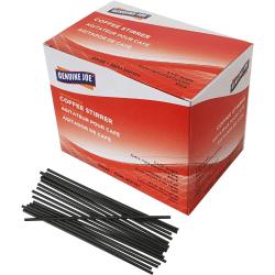 "Genuine Joe Plastic Stirrers - 5.50"" Length - Plastic, Polypropylene - 1000 / Box - Black"