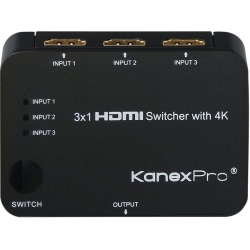 KanexPro 3x1 HDMI Switcher with 4K Support - Home Theater, TV, Blu-ray Disc Player, PlayStation 4, Xbox, HDTV, Projector, PlayStation 3, DVD Player Compatible - 3 x HDMI Digital Audio/Video In, 1 x HDMI Digital Audio/Video Out, 1IR Input