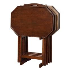 Powell Holly 5-Piece Tray Table Set, Espresso