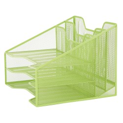 "Mind Reader 5-Compartment Desk Organizer, 9-1/8""H x 12-1/2""W x 11""D, Green"