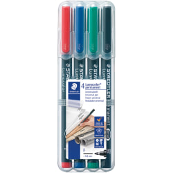 Staedtler® Mars® Lumocolor® Permanent Markers, Fine Point, Assorted Colors, Pack Of 4