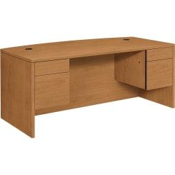 HON® 10500 Series™ Double-Pedestal Bow-Top Desk, Harvest Cherry