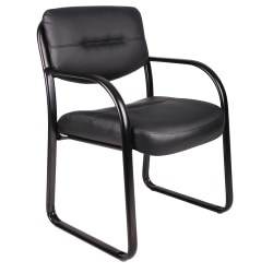Boss Office Products Bonded LeatherPlus™ Contoured Guest Chair, Black