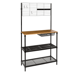 Honey Can Do Bakers Rack With Hanging Storage, 2-Shelf, Black