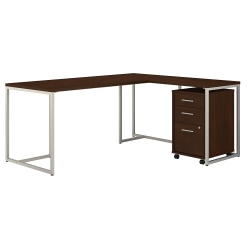 """kathy ireland® Office by Bush Business Furniture Method 72""""W L-Shaped Desk With 30""""W Return And Mobile File Cabinet, Century Walnut, Standard Delivery"""