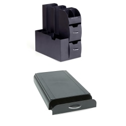 Mind Reader Coffee Condiment Caddy With Coffee Pod Storage Drawer, Black