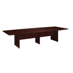 """Bush Business Furniture 120""""W x 48""""D Boat Shaped Conference Table with Wood Base, Harvest Cherry, Standard Delivery"""