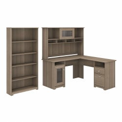 """Bush Furniture Cabot 60""""W L-Shaped Computer Desk With Hutch And 5-Shelf Bookcase, Ash Gray, Standard Delivery"""