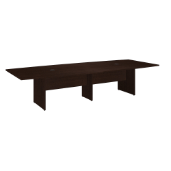 """Bush Business Furniture 120""""W x 48""""D Boat Shaped Conference Table with Wood Base, Mocha Cherry, Standard Delivery"""