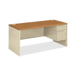 HON®38000 Series Right Pedestal Desk With Lock, Harvest/Putty