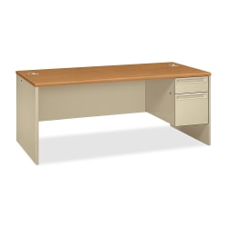 HON® 38000 Series Right Pedestal Desk, Harvest/Putty