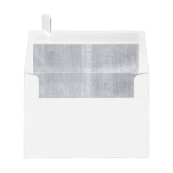 "LUX Foil-Lined Invitation Envelopes With Peel & Press Closure, A4, 4 1/4"" x 6 1/4"", White/Silver, Pack Of 250"