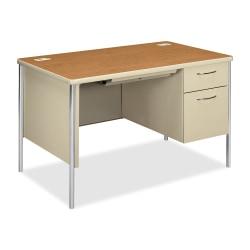HON® Mentor Right-Pedestal Desk, Harvest